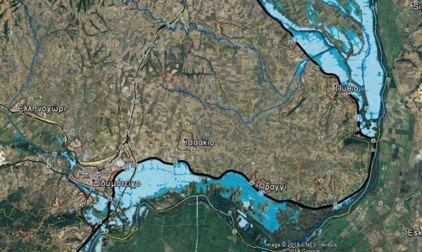 Ένας χάρτης δείχνει τα 92.620 πλημμυρισμένα στρέμματα στον Έβρο – Σε εξέλιξη το φαινόμενο