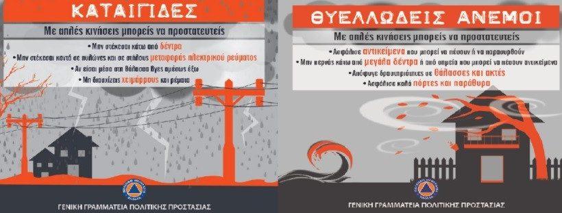 Προσοχή: Έρχονται καταιγίδες και θυελλώδεις άνεμοι  – Οδηγίες απο την ΓΓΠΠ